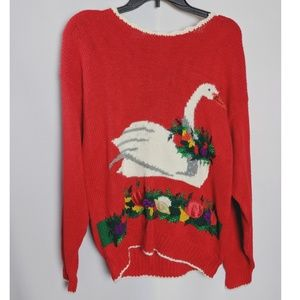 Sweaters - Ugly Christmas Red Swan Sweater Hand Knit Sz M